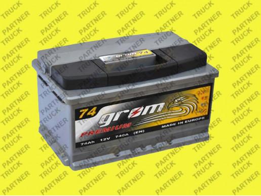 Акумулятор 74ah Grom Premium 74-0 R+ 740A